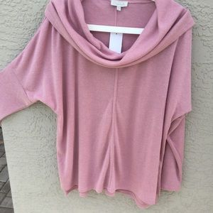 CHENAULT PINK TOP W/shawl neck line NWT SIZE L
